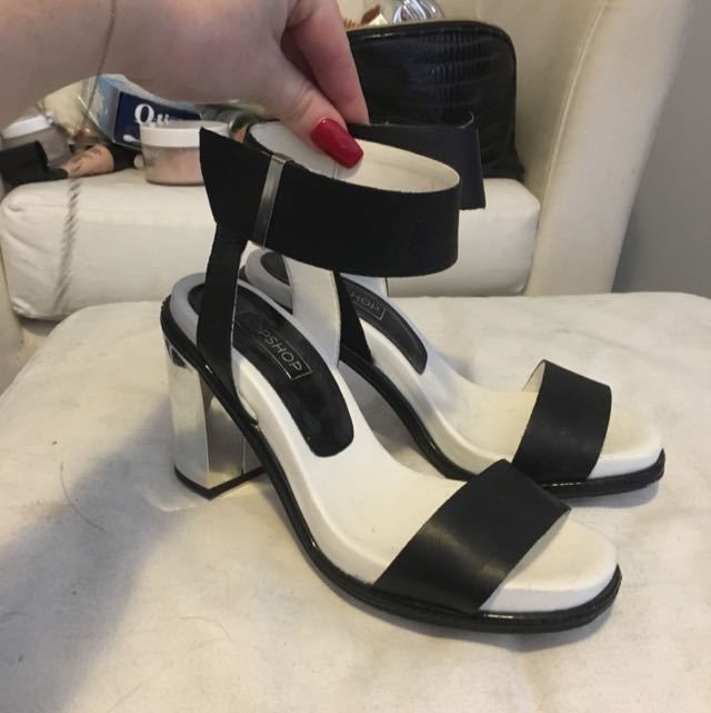 Topshop Black And Silver Heels Size 7