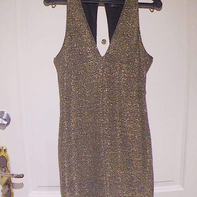 Topshop Shiny Gold/Silver Dress Size 8