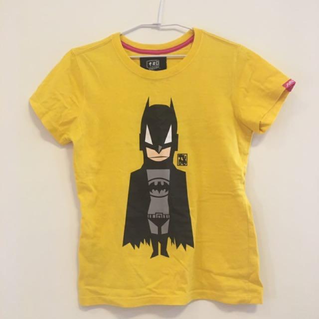 黃色蝙蝠俠圖案tshirt