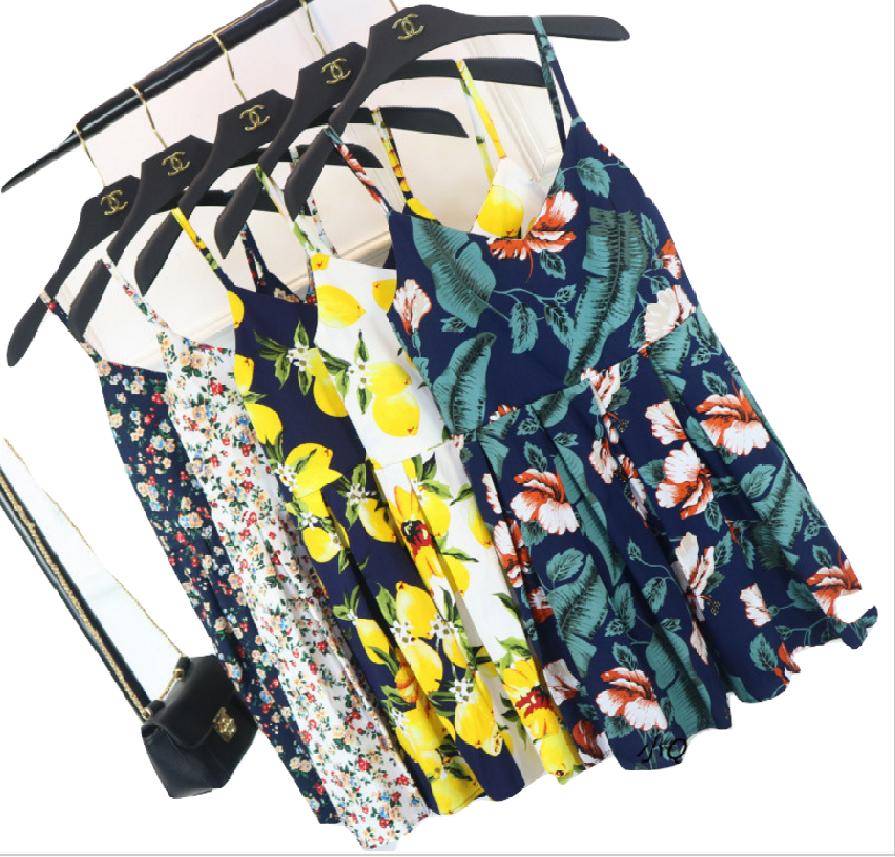 🍋輕檸四季-小V領印花度假短裙洋裝