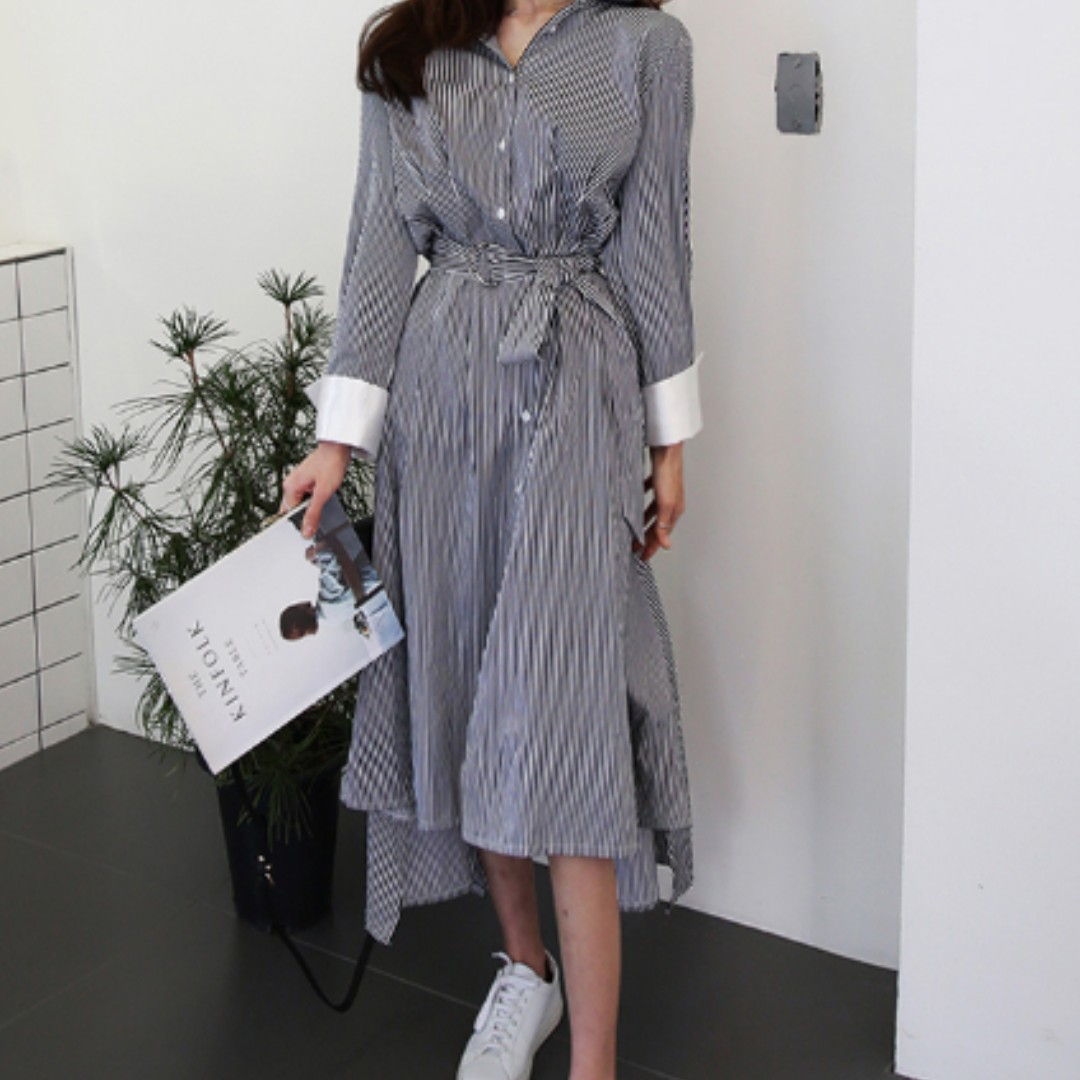 Vertical Stripe Long ShirtDress