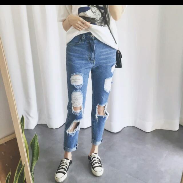 huge inventory save up to 60% latest releases Women's Ripped Jeans Straight Cut Boyfriend Jeans Pants ...