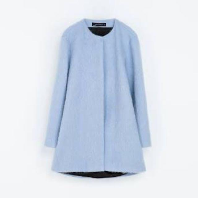 Zara Mohair Coat In Light Blue Size xs