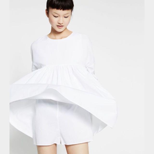 25c552cb05b Zara White Poplin Jumpsuit Dress With Back Buttons In XS