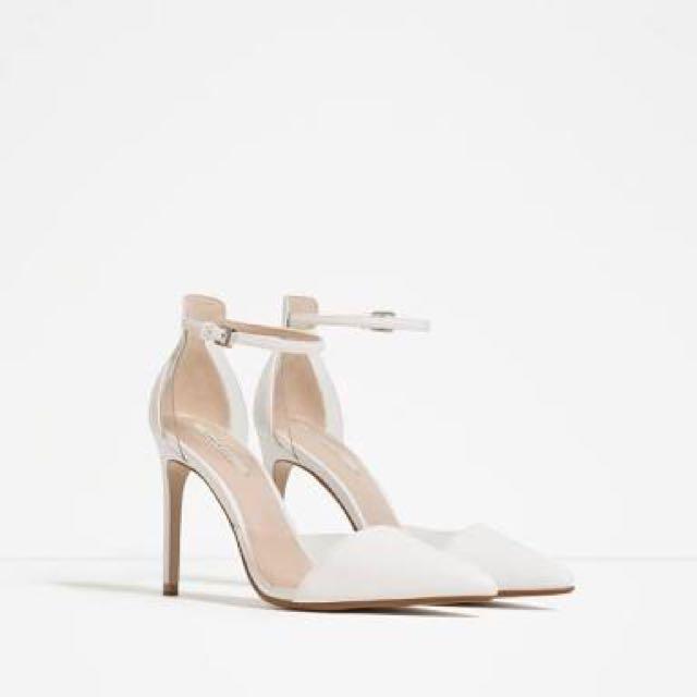 Zara Women's White Vinyl D'orsay Sandals 38