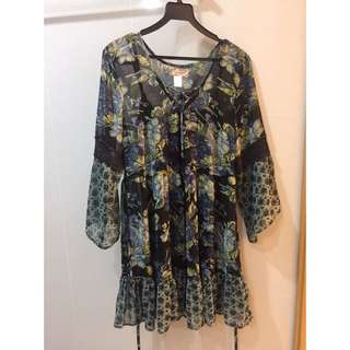 Bohemian Fluted Sleeves Dress
