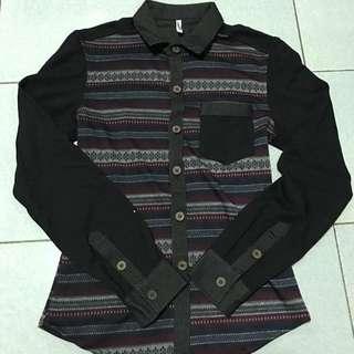 長袖襯衫格子線條襯衫百搭深色剪裁圖騰彈性特殊布