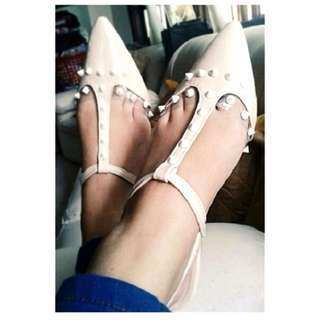 Tonic Donna Studded Flats in Cream US6