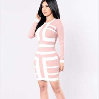 Fashion Nova Pink And White Dress BNWT