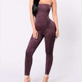 Purple Suede Like Jumpsuit BNWT