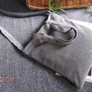 (全新)燈芯絨 灰色 肩背包 協背包