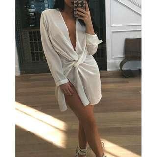 MINI SATIN DRESS - WHITE SIZE SMALL