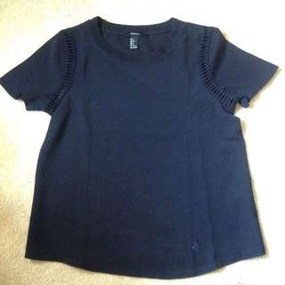 Black F21 Shirt With Shoulder Detailing