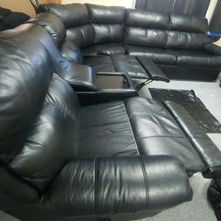 2pc Leather Couch With Fold Out Bed