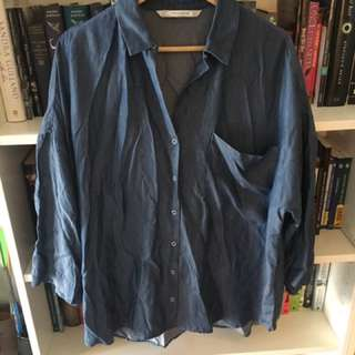 Zara Baggy Loose Blue Collared Top Blouse