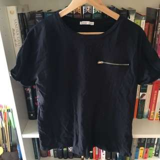 Zara Zipper Tee Shirt