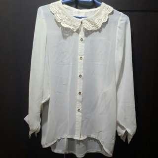 Bayo White Lace/See-through Top