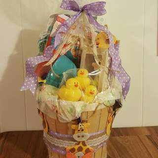 Neutral Baby Basket For Baby Shower. Customized