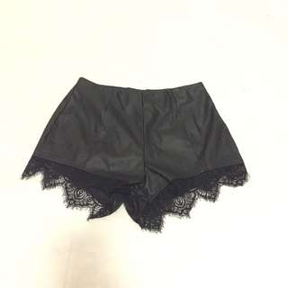 H&M Black Leather And Lace Shorts