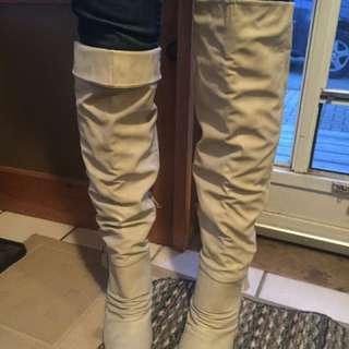 Beige/Gray Thigh High Stiletto Boots Size 8