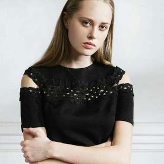 Fabitoria黑色蕾絲鏤空上衣/台灣設計師品牌