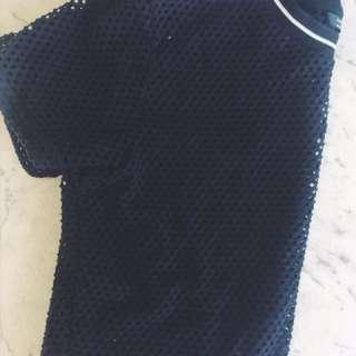 Black Netted Crop Top