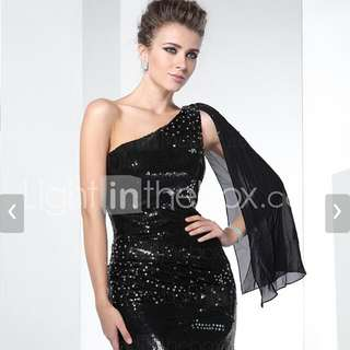 TS Couture® Formal Evening Dress Mermaid One Shoulder Sweep Train Sequined