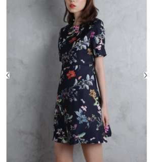 Leanna Flare Dress Navy Florals