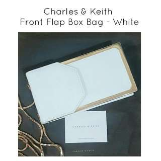 Charles & Keith Front Flap Box Bag in White