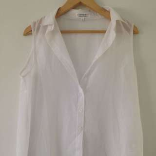 White Oversized Vest Top