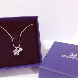 全新 SWAROVSKI 施華洛世奇 紫色水晶小花項鍊