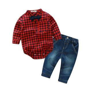 Red Checked Boy Outfit