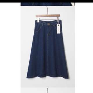 Long Denim Midi Circle Skirt