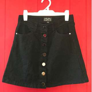 Black denim button-up mini skirt