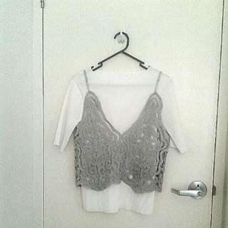 White Pleated Top With Lace Camisole