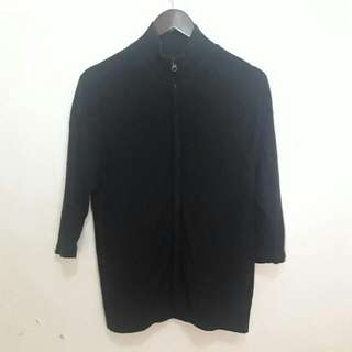 Black Cardigan With Front Zipper