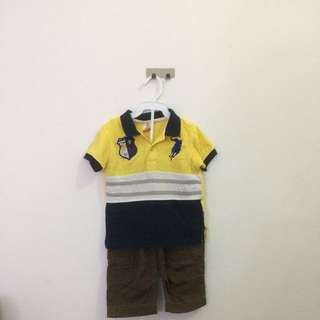 Authentic Polo collar tshirt and Ladybird pants for toddler