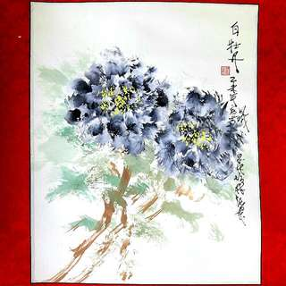 可議價~林誌崇水墨畫詠白牡丹~裝飾、增喜氣,添富貴!