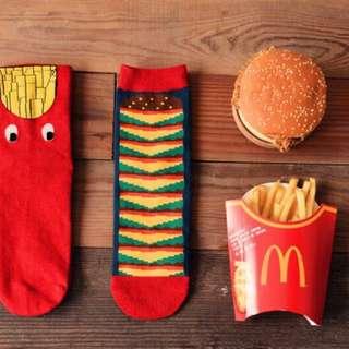 🚚 Q版食物 情侶中筒襪