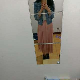 粉色棉麻長裙