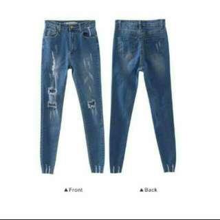 全新刷破牛仔長褲 #三百元牛仔