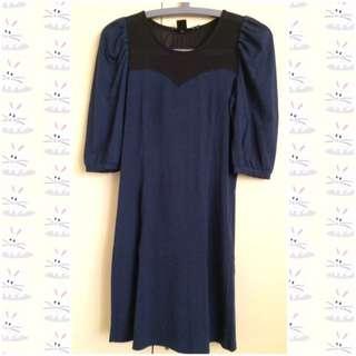 Uniqlo Navy With Black Mesh Dress