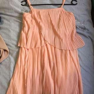 Pleated Blush Dress