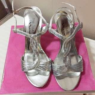 Nina Metallic Silver/satin Shioes