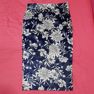 Blue Satin Floral Pencil Skirt