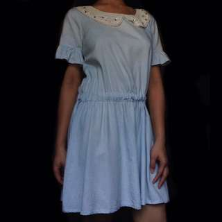Light Denim Dress w/ Crochet & Back Buttons