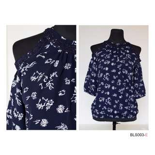 Exposed Shoulder- Floral Navy Blue 2