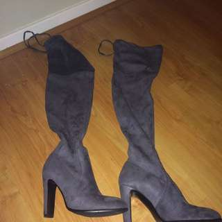 Grey Suede High Heel Boots