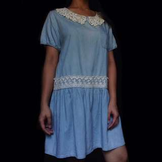Light Denim Dress w/ Crochet