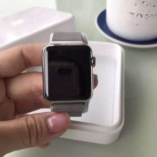🚚 Apple Watch 1米蘭式不銹鋼環38mm錶面